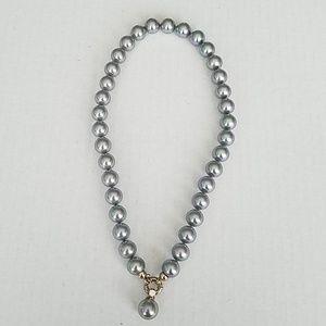 Majorica 12mm Iridescent Grey Pearl Necklace